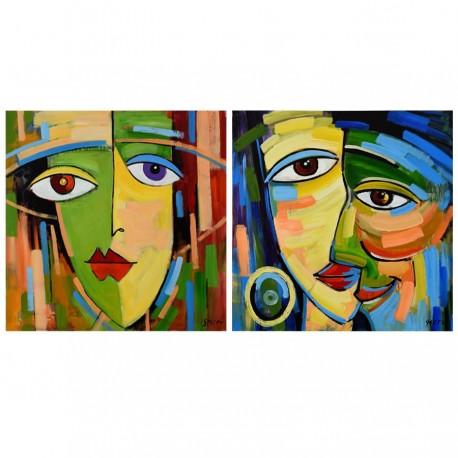 """Set de 2 tableaux """"ANGELO"""" 80x80 cm"""