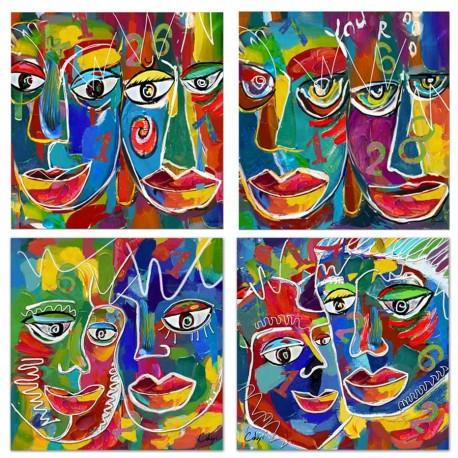 """Set de 4 tableaux """"PABLO"""" 40x40 cm"""