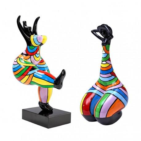 Lot de 2 sculptures femmes THERA H.45 cm